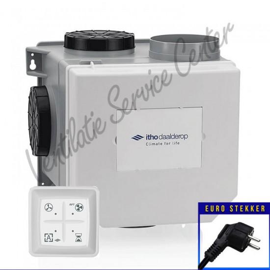 Itho Daalderop CVE-S ECO SE ventilatiebox met vochtsensor, eurostekker en RF zender 03-00398 (Woonhuisventilatie)