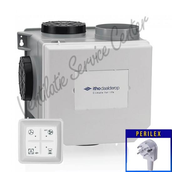 Itho Daalderop CVE-S ECO SP ventilatiebox met vochtsensor, PERILEX stekker en RF zender 03-00400 (Woonhuisventilatie)