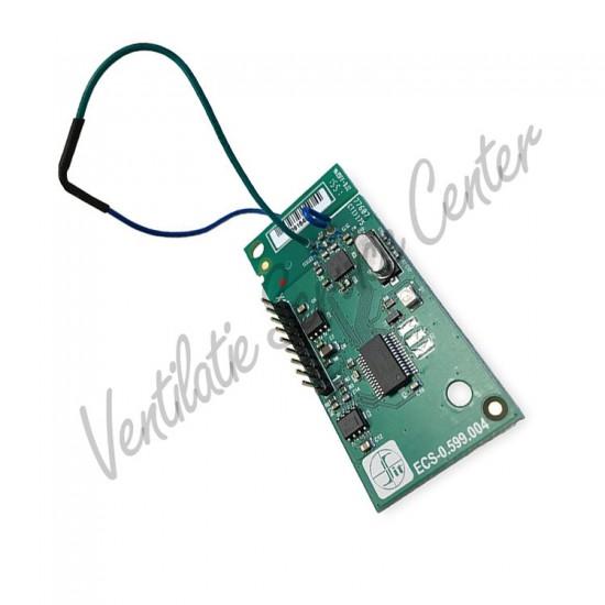 Draadloze RF zender + ontvanger print tbv Stork CMFe, Zehnder Comfofan S, Buva Boxstream en ComfoAir E (Regelingen)